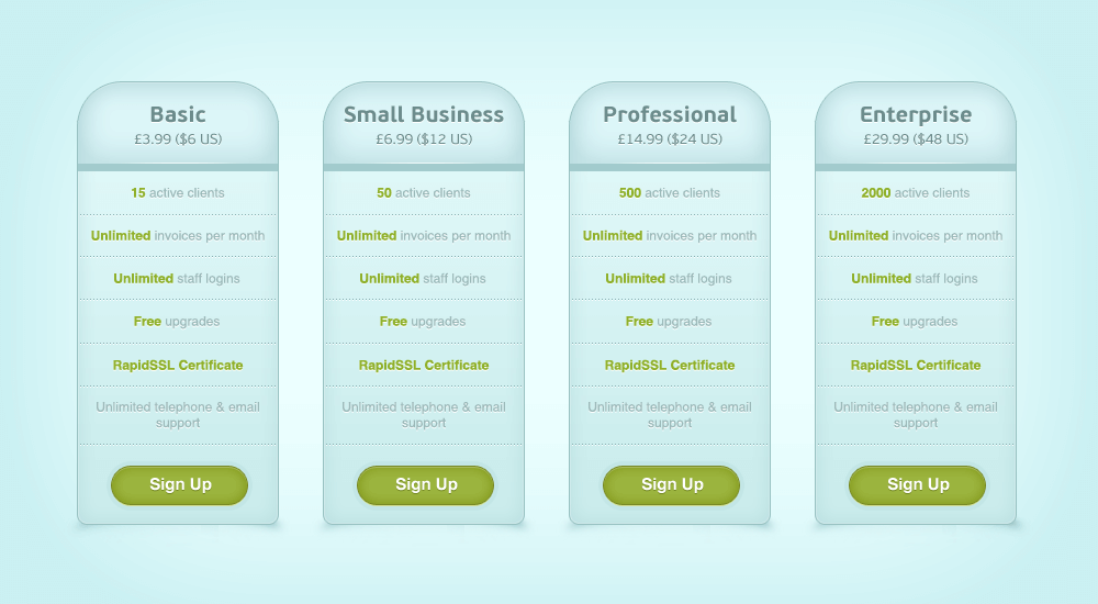 Blue Pricing Table(PSD)