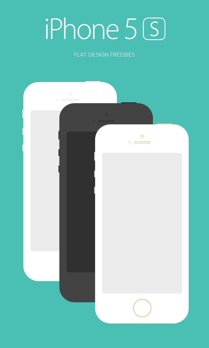 iPhone 5S Flat Design(PSD) | Free PSDs & Sketch App ...