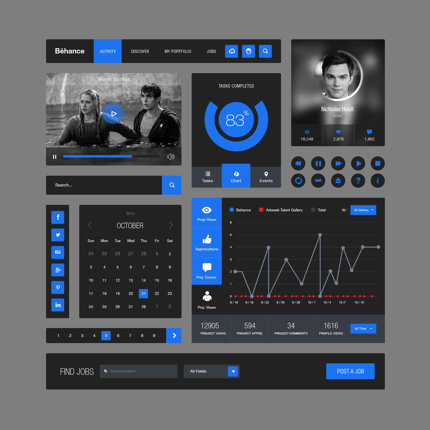 Behance Style Flat Ui Kit(PSD)