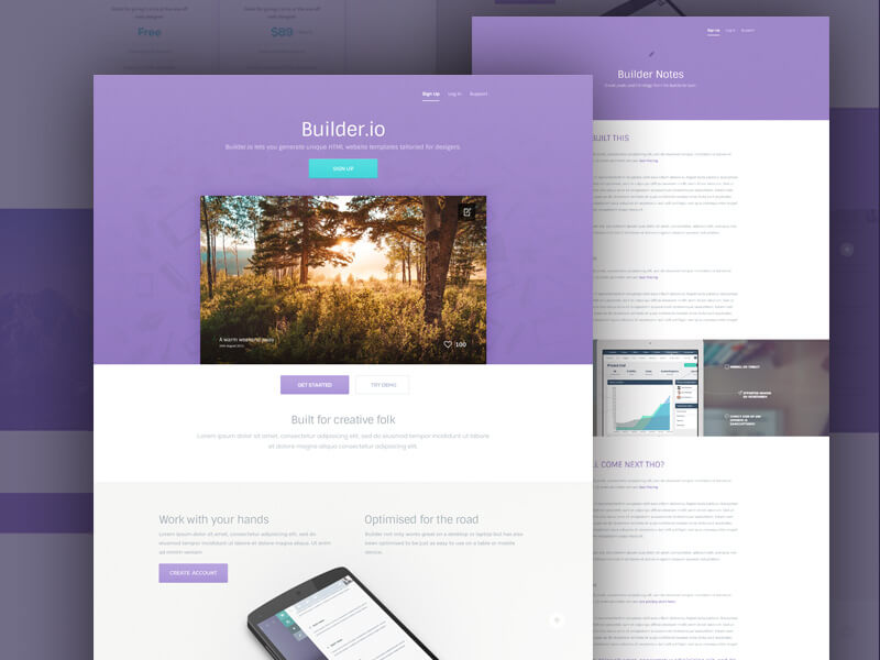 Builder Purple Website Template