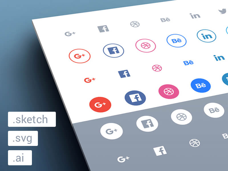 Flat social media icon set ai,  sketch , psd