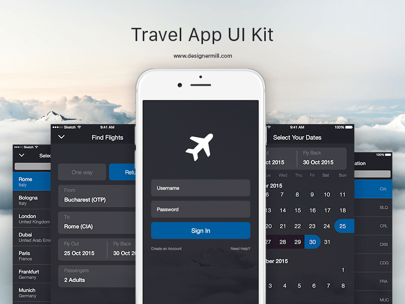 Travel App Design Sketch