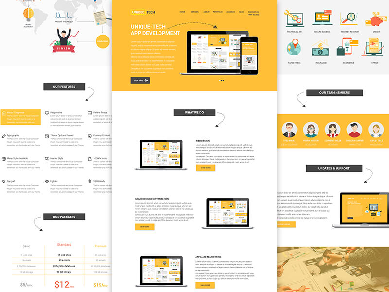 Corporate Yellow Website Template Sketch App