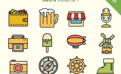 Retro Vector icon set