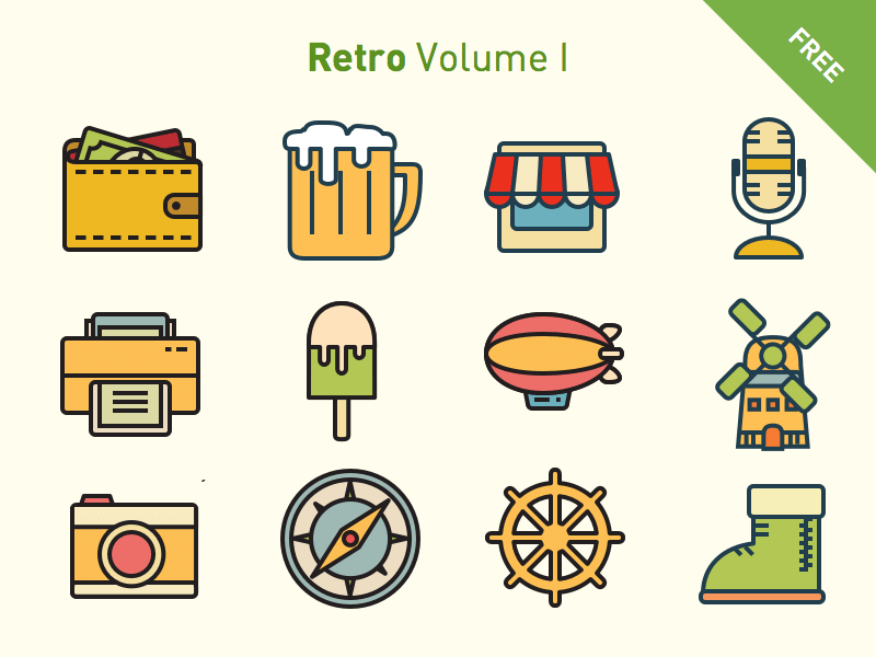 Retro Vector icon set
