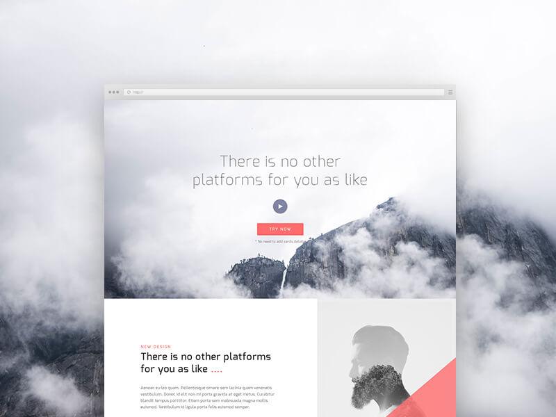 Clean Landing Page Design PSD