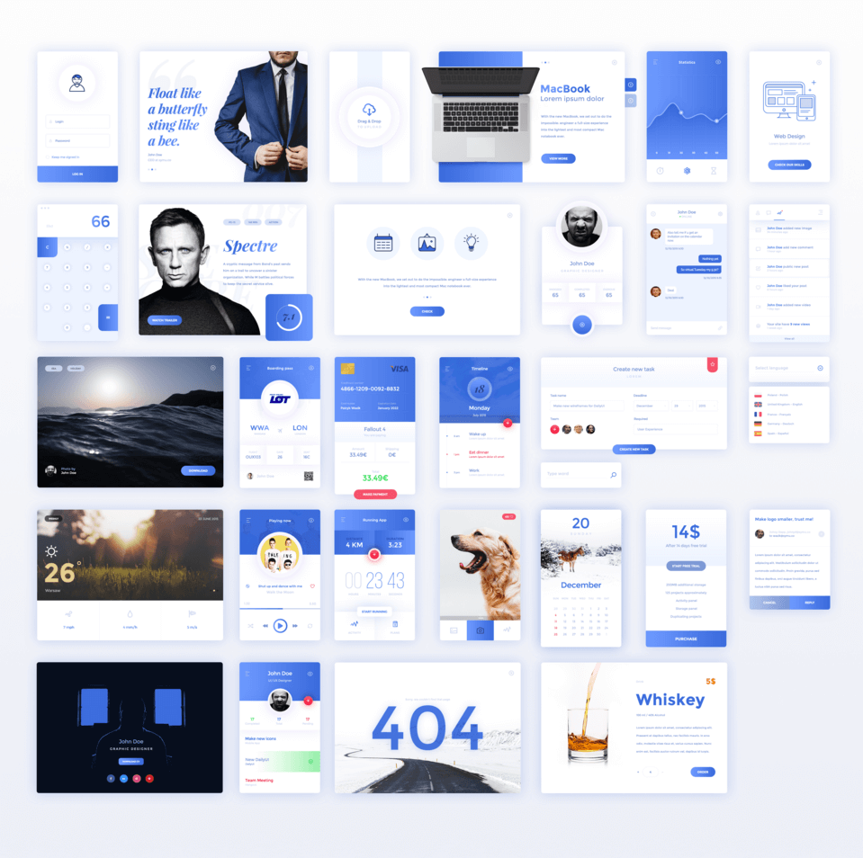 Amazing Blue Ui Kit Psd Free Psds Amp Sketch App Resources