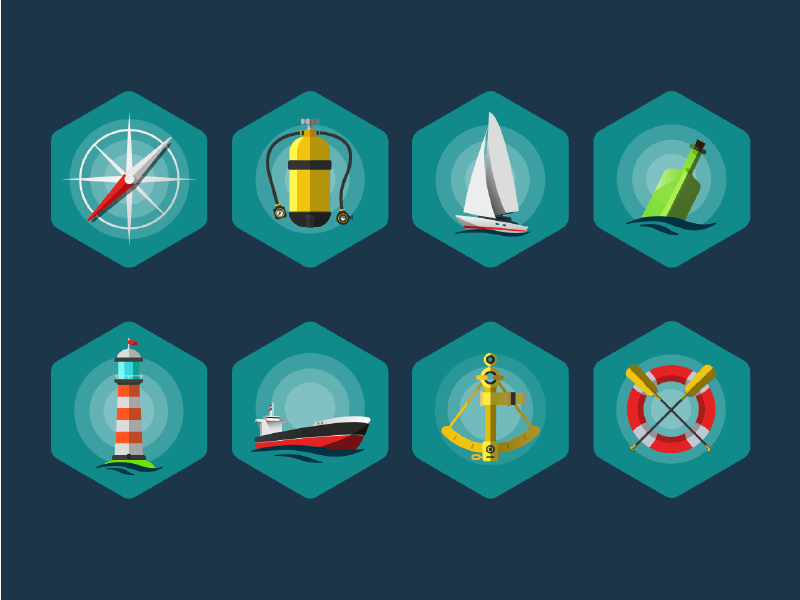 Sea Icon set EPS
