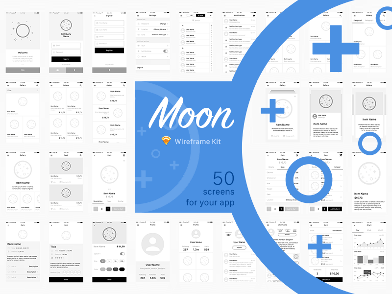 Moon wireframe kit Sketch app