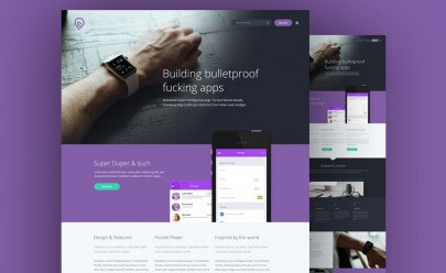 Purple Website Template PSD