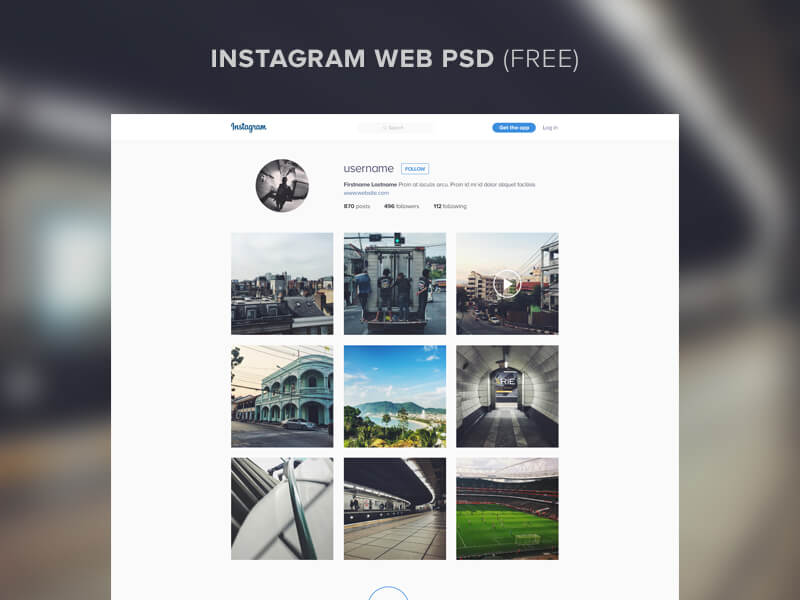 instagram website template psd free psds sketch app resources for designers uipixels. Black Bedroom Furniture Sets. Home Design Ideas