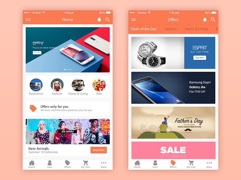eCommerce iPhone app PSD