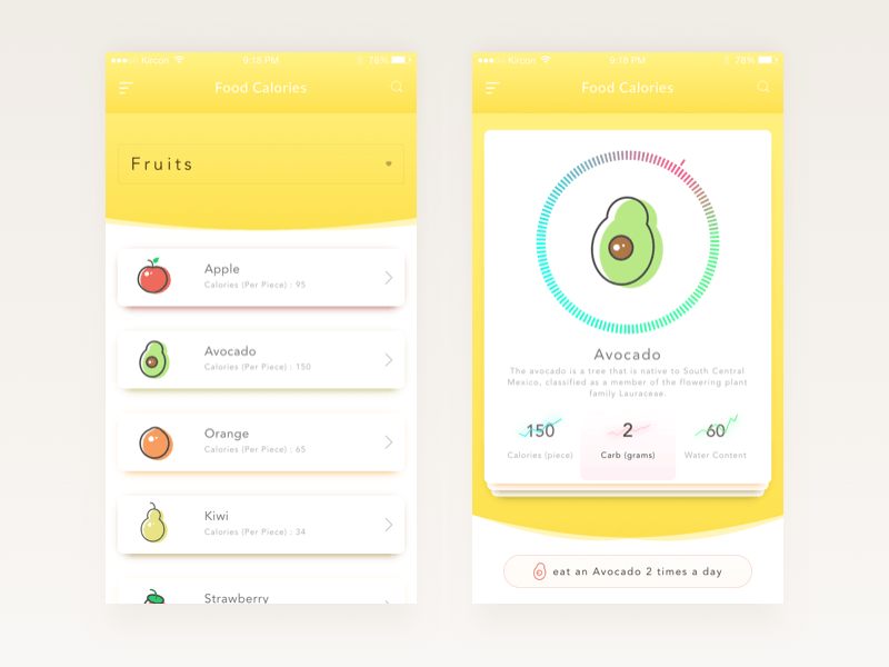 Food Calories App Design Sketch
