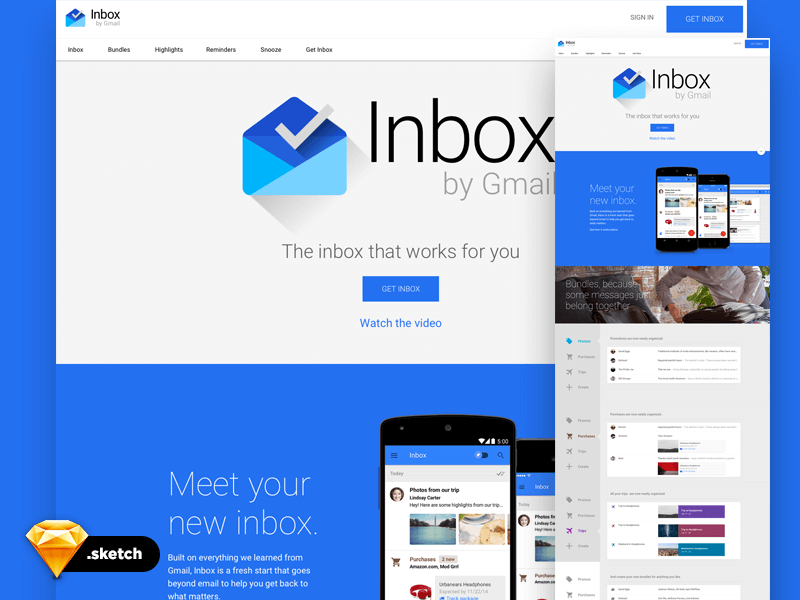 google inbox page design sketch app
