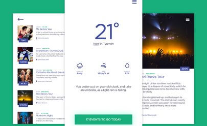 Weather & Events App PSD