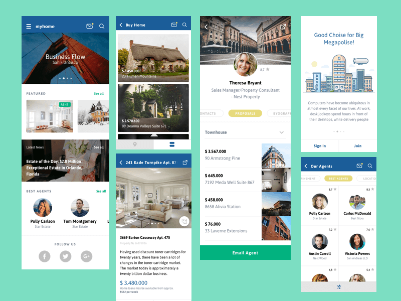 Real Estate app Design Sketch
