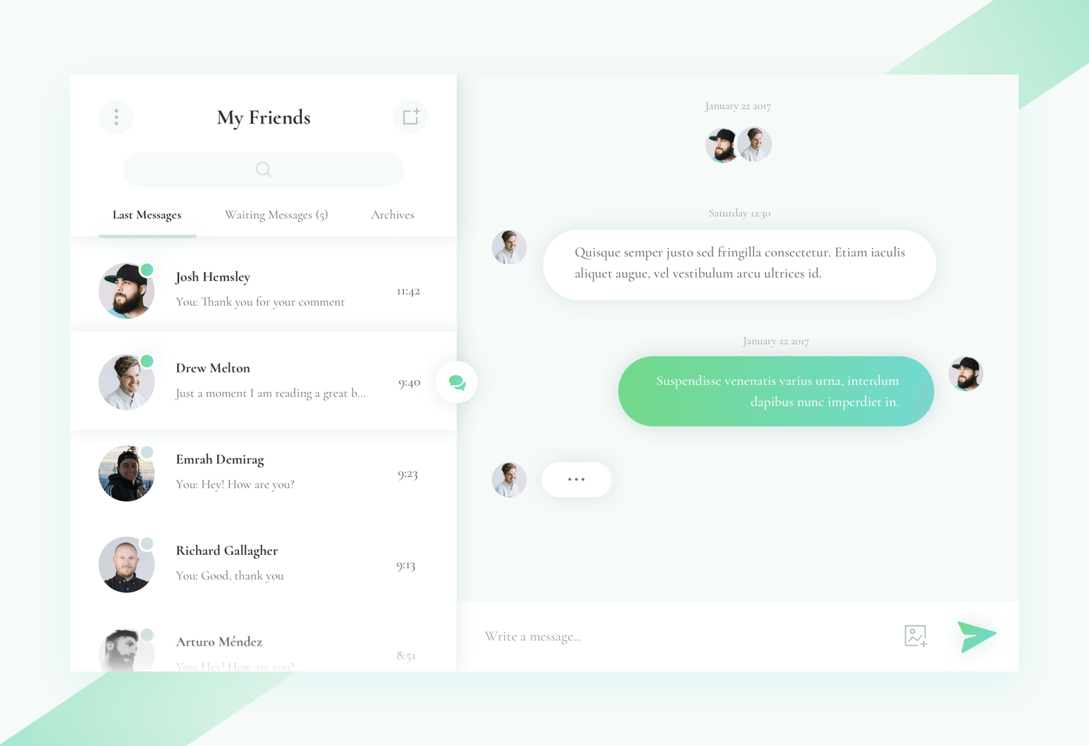 Conversation Widget Sketch Design