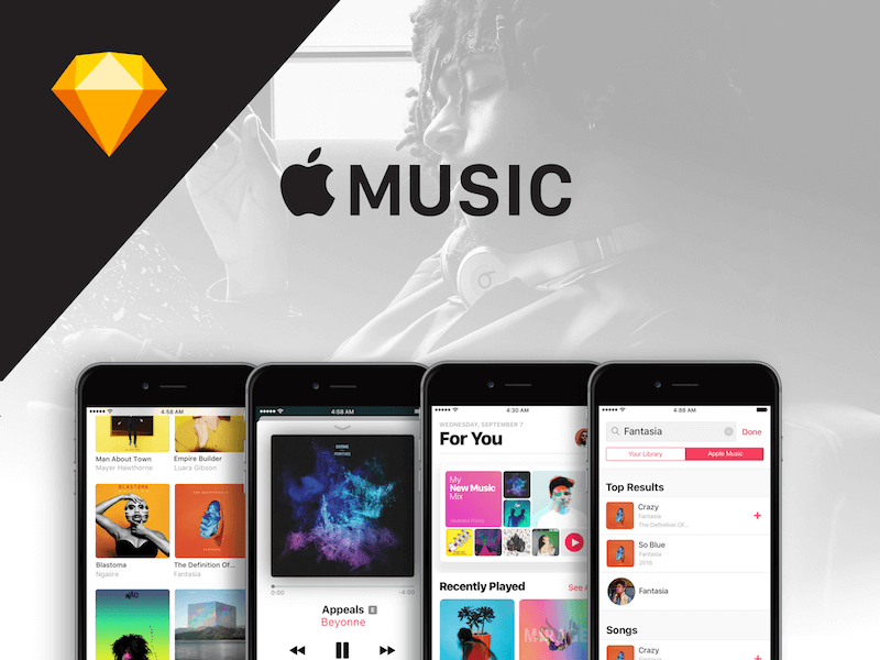 Apple Music Sketch UI Download Sketchapp