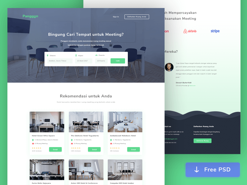 Meeting Room Booking Web Design PSD
