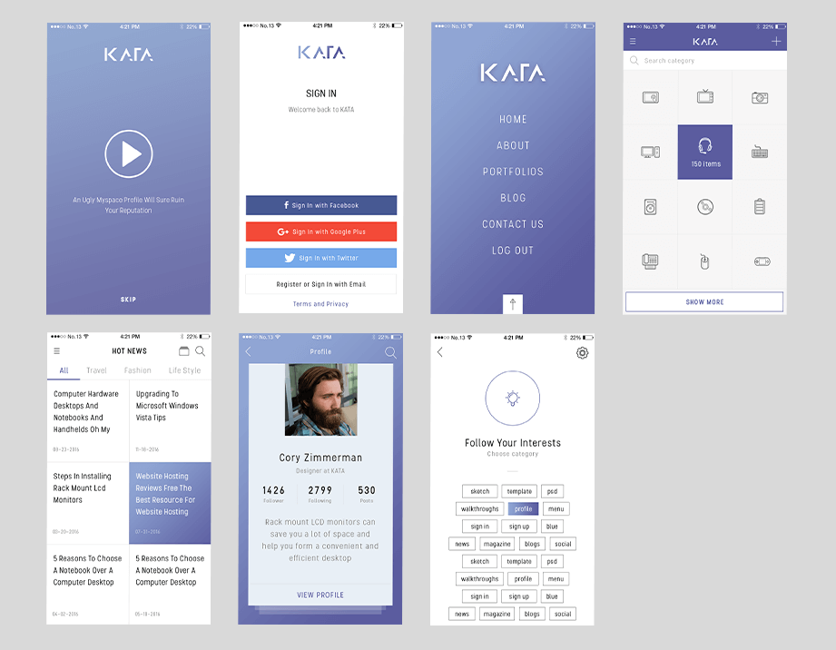 Kata Mobile Ui Kit Sketchapp