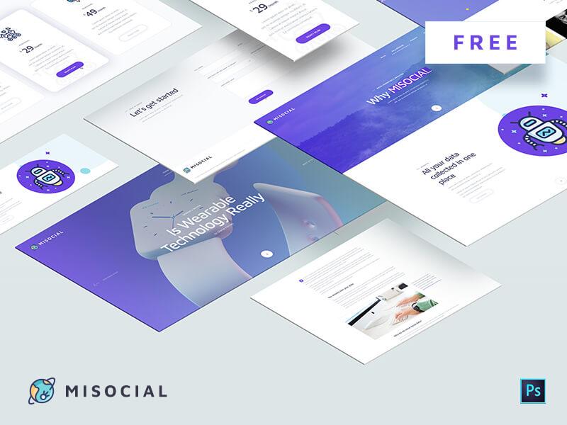 Misocial Web PSD Template