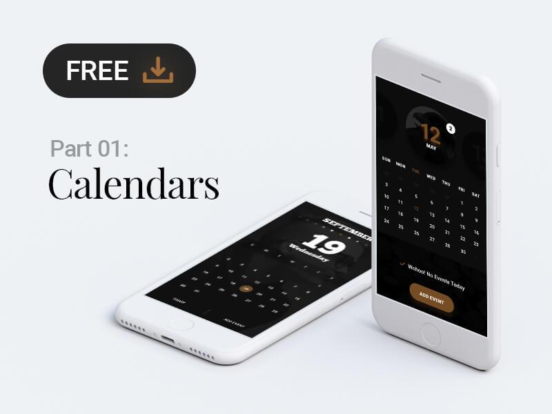 Calendar app design .psd