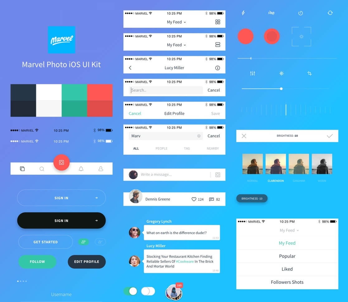 Photo iOS UI Kit Sketch app