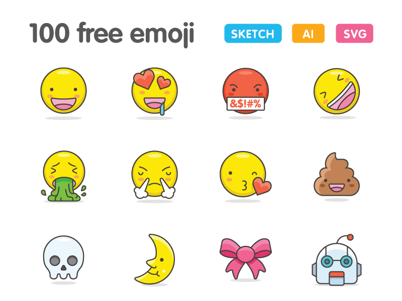100 Cute Emoji icons FREE