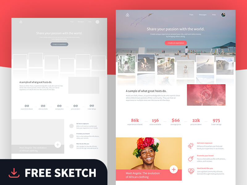 Airbnb landing page sketch app