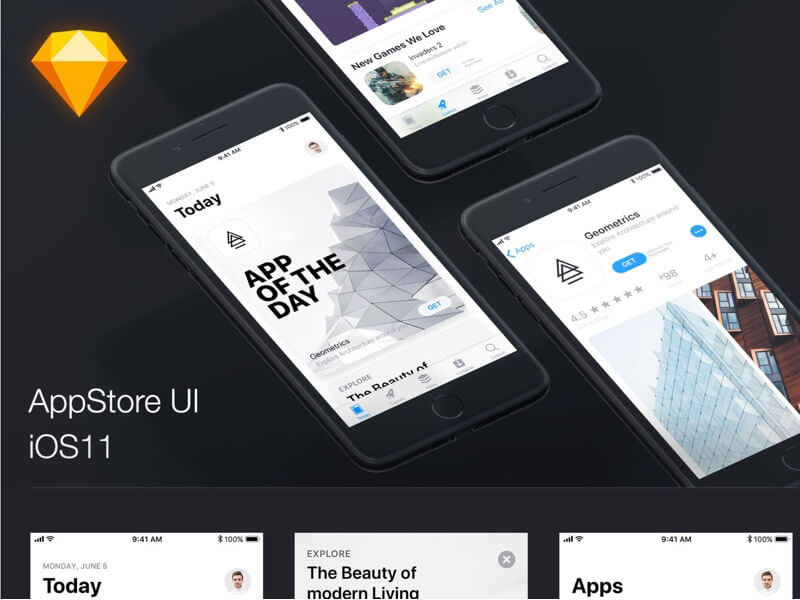 IOS11 app store design kit sketchapp