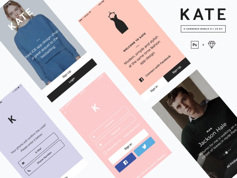 KATE .app e-commerce UI Kit