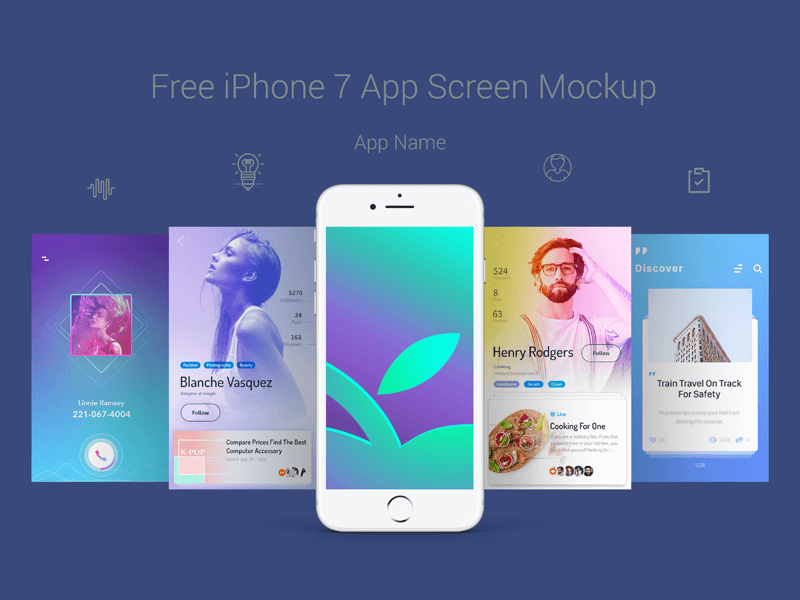 iPhone 7 App Screen Mockup PSD