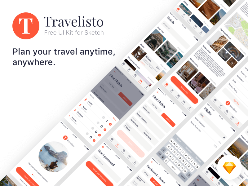 Travel Ui Kit Sketchapp