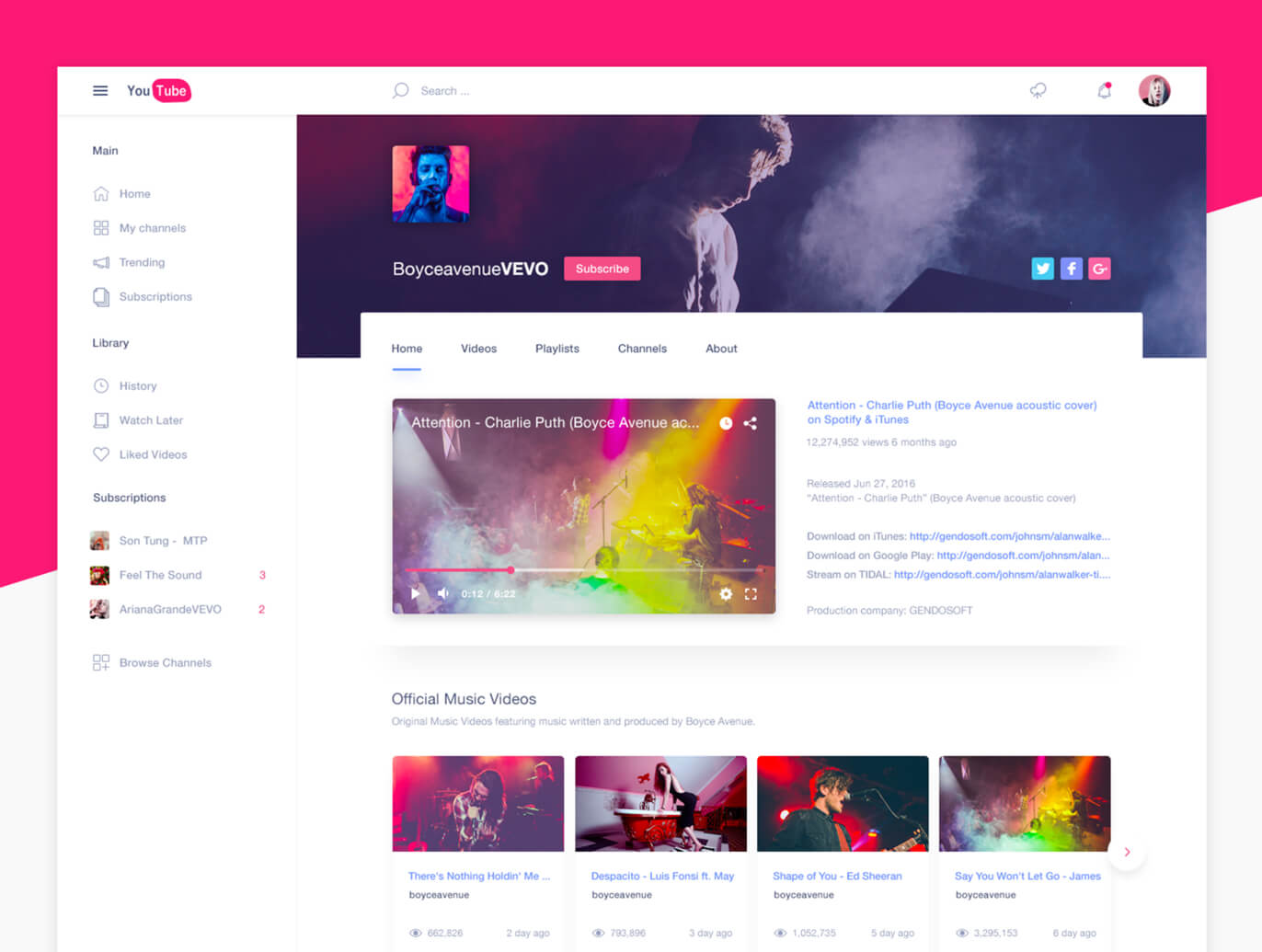 YouTube Redesign FREE PSD