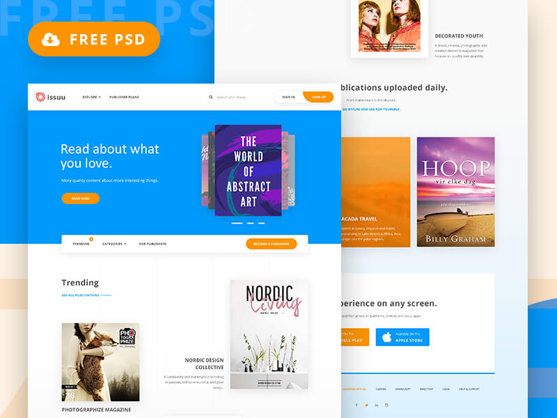 Magazine homepage webdesign psd