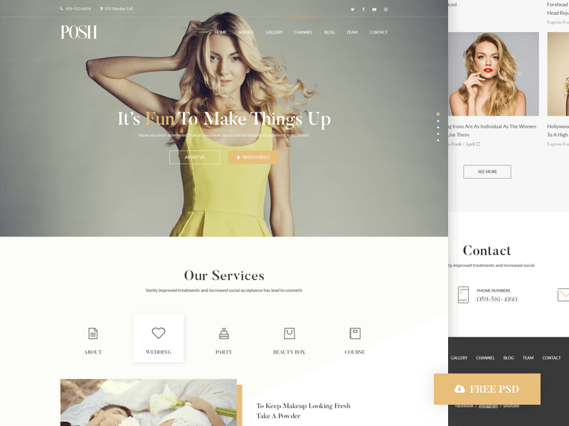 Posh Beauty Homepage PSD