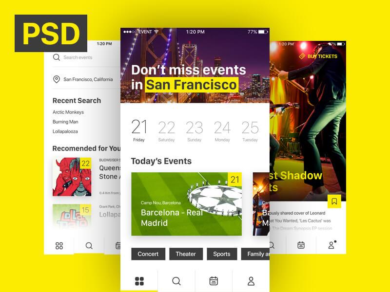 Event & Ticket Sales App PSD