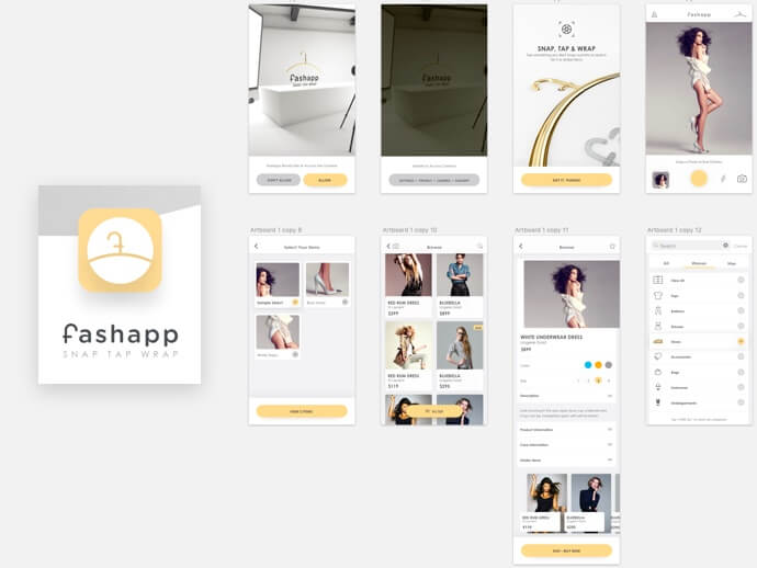 Fashion app design PSD