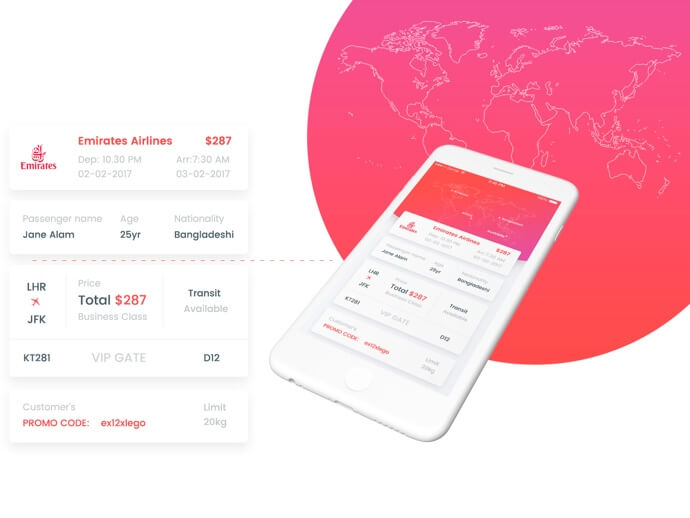 Flight ticket mobile app PSD