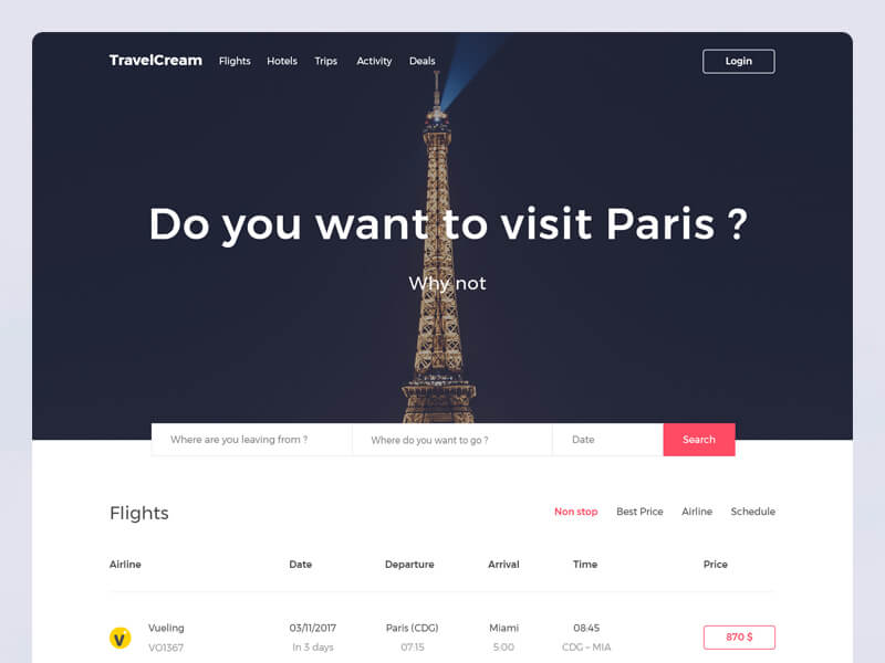 Travel Guide Landing Page PSD