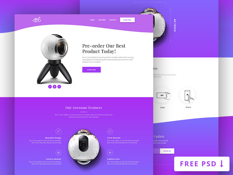 360 Degree Product Landing Page PSD