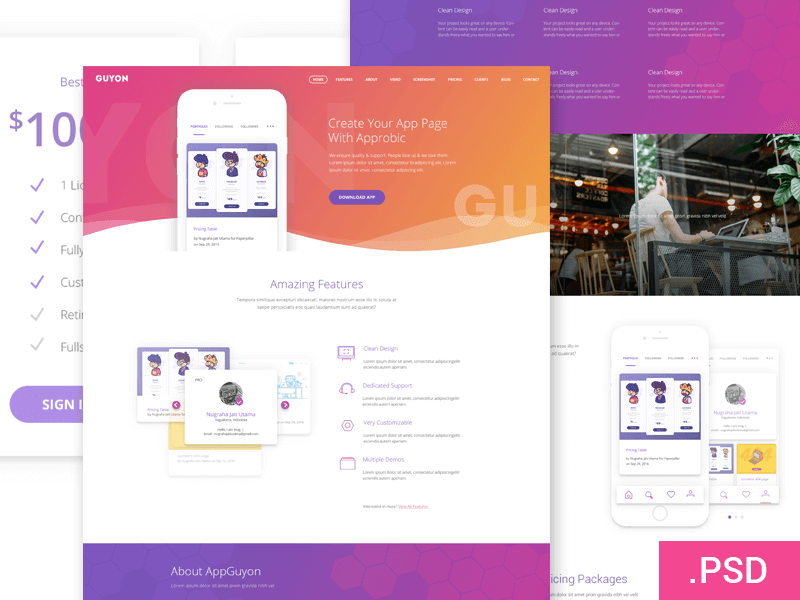 Guyon Website Template PSD