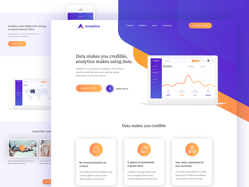 Analytica Landing page PSD