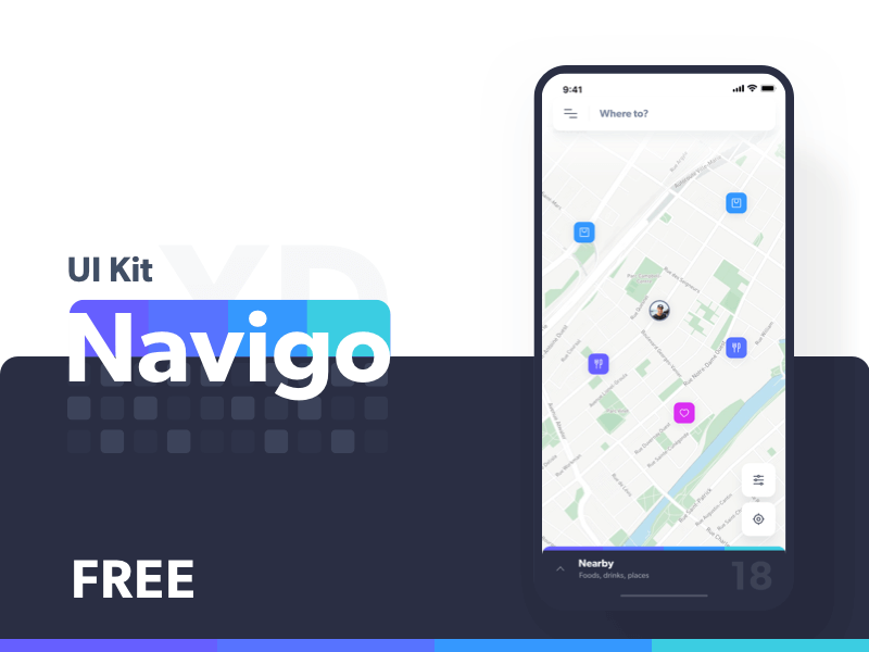 Navigation App UI Kit for Adobe XD