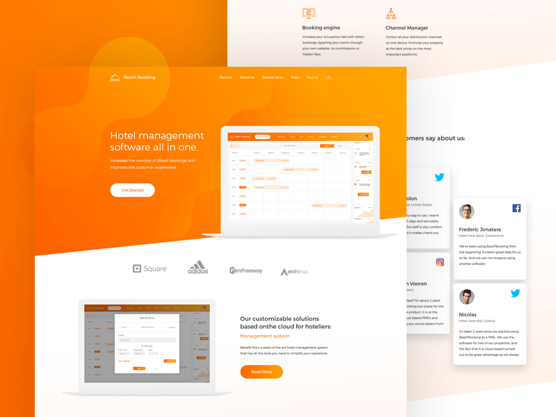 Roombooking Landing page PSD