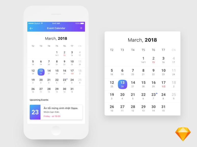 App calendar design Sketch