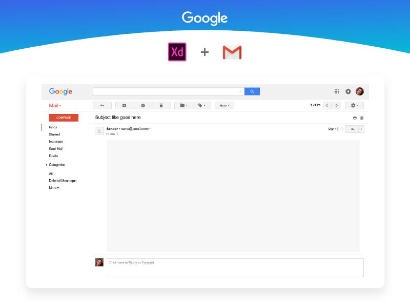 Gmail UI Kit Free XD