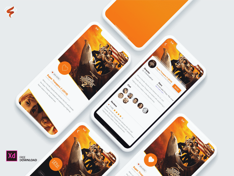 Ticket Booking Concept App Adobe XD