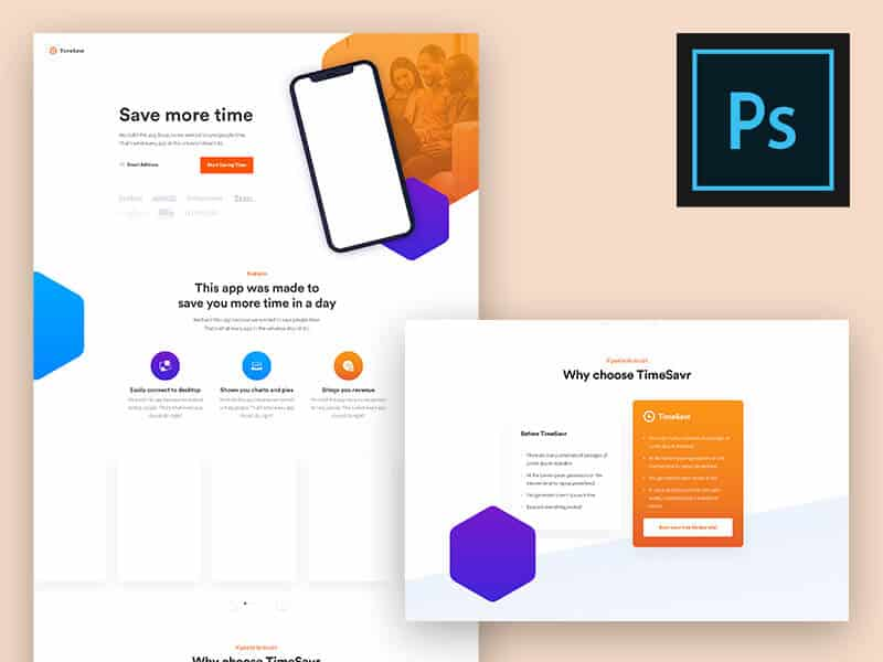 Modern App Landing Page PSD