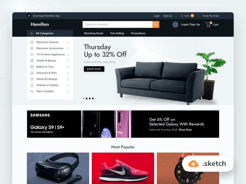 Ecommerce website template Sketchapp